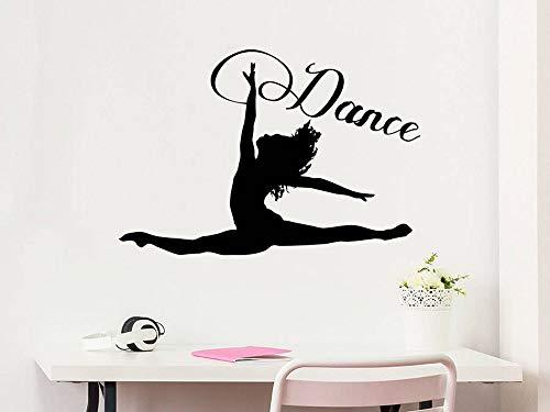 yaonuli Tanz Wandtattoo Silhouette Tanz Gymnastik Akrobatik Vinyl Aufkleber Aufkleber Heimtextilien Studio Tanzkunst 57x39cm
