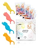 Piico Dental Floss Picks for Kids - Dual Line Unflavored Disposable Floss Picks for Kids in Fun and Colorful Designs with Slim Kids Floss and Portable Travel Case (120 Count Jumpstart Zoo + Freebies)