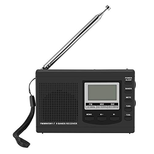 ONEVER Tragbare Mini-Radios - FM/MW/SW mit Antenne Digital-Wecker UKW-Radio, Digital Portable FM Receiver Uhr (Schwarz)