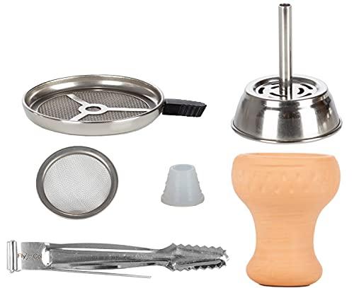 FlyCol Juego de cazoleta de shisha con colador y pinzas | Accesorios de junta de silicona para chimenea, cabezal de arcilla, acero inoxidable (Classic)
