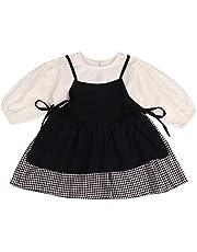 F's MAUMU チェック柄 ベビー服 女の子 選べる ロンパース ワンピース & ストラップ ジャンプスカートジャンパースカート ベビー 赤ちゃん セット 韓国 子供服