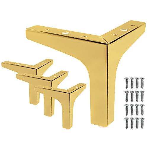 Seimneire 4 patas de muebles de 15 cm, estilo moderno, patas de metal de lujo, patas triangulares doradas para mesas, armarios, sofás y sillas