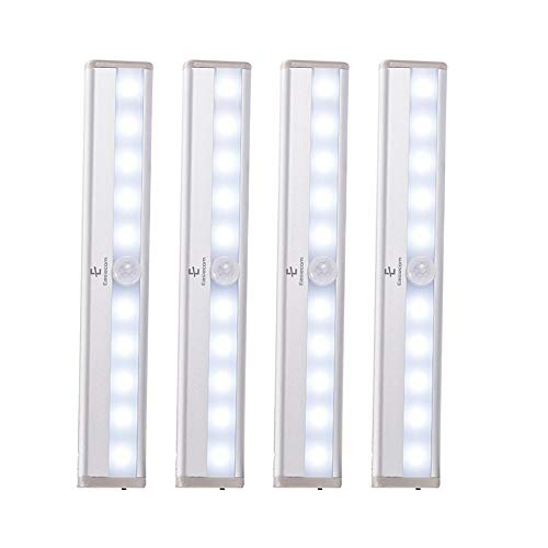E Easiecom Motion Sensor Movement PIR Under Cabinet Lights 10 LED Automatic, Portable & Rechargeable, Stick On Anywhere, Night Lights for Kitchen Wardrobes Closets Cupboards, 1pc Spare Magnetic Strip