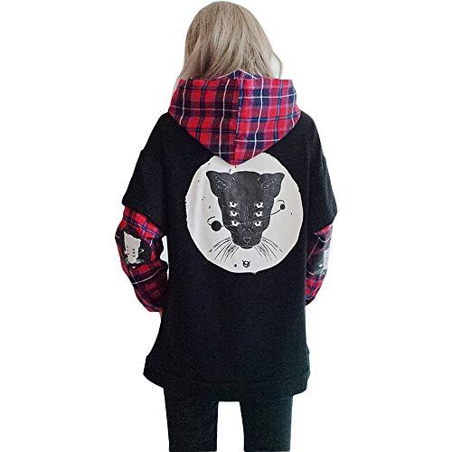 Damen Kapuzenpullover Harajuku Katze Plaid Ärmel gefälschte zweiteilige Sweatshirt Gr. One size, Schwarz