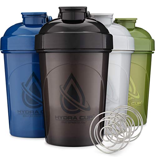 Hydra Cup - [4 Pack] 20-Ounce Shaker Bottle with Wire Whisk Balls, Shaker Cup Blender for Protein Mixes, V2