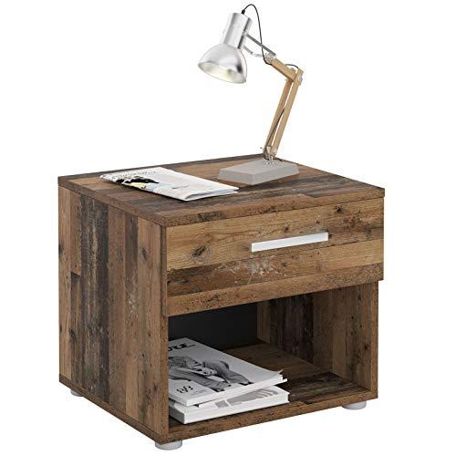 CARO-Möbel Nachttisch Nachtschrank Nachtkommode Mary Old Style, 42 x 38 x 30 cm, mit Schublade und offenem Fach
