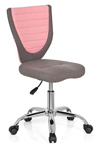 hjh OFFICE 670600 Kinder-Schreibtischstuhl KIDDY COMFORT Filzbezug Grau/Rosa Jugend Bürostuhl höhenverstellbar