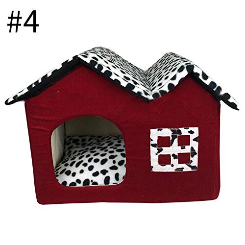Kennel Dog Bed Lovely Dog House Short Plush Kennels for Small Medium Dogs Removable Puppy Nest Foldable Dog Kennel Pet Sleeping House OneSize Style4