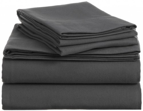 Clara Clark 100% Egyptian Cotton Flannel 4 Piece Bed Sheet Set King Size Charcoal Gray