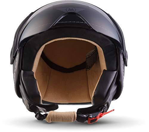 Moto Helmets H44 Leather Black · Cruiser Bobber Vintage Vespa-Helm Biker Chopper Retro Mofa Moto Helmetsrrad-Helm Jet-Helm Helmet Pilot Scooter-Helm Roller-Helm · ECE zertifiziert · inkl. Sonnenvisier · inkl. Stofftragetasche · Grau · XL (61-62cm) - 7