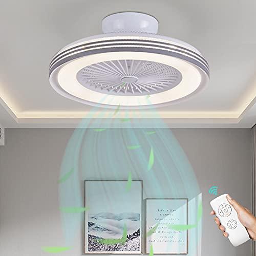 Lámpara De Techo LED Moderna Ventilador De Techo Con Luz Ventilador De Velocidad Del Viento Ajustable Lámpara Con Mando A Distancia Luz Plafón Regulable 72W Para Dormitorio Sala De Estar Ø 50Cm