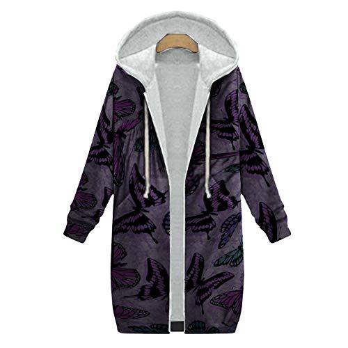 XOXSION - Parka invernale da donna, con cappuccio, stile vintage, alla moda, elegante cappotto in peluche, giacca invernale calda con cappuccio, giacca in pelliccia Lilla XXL