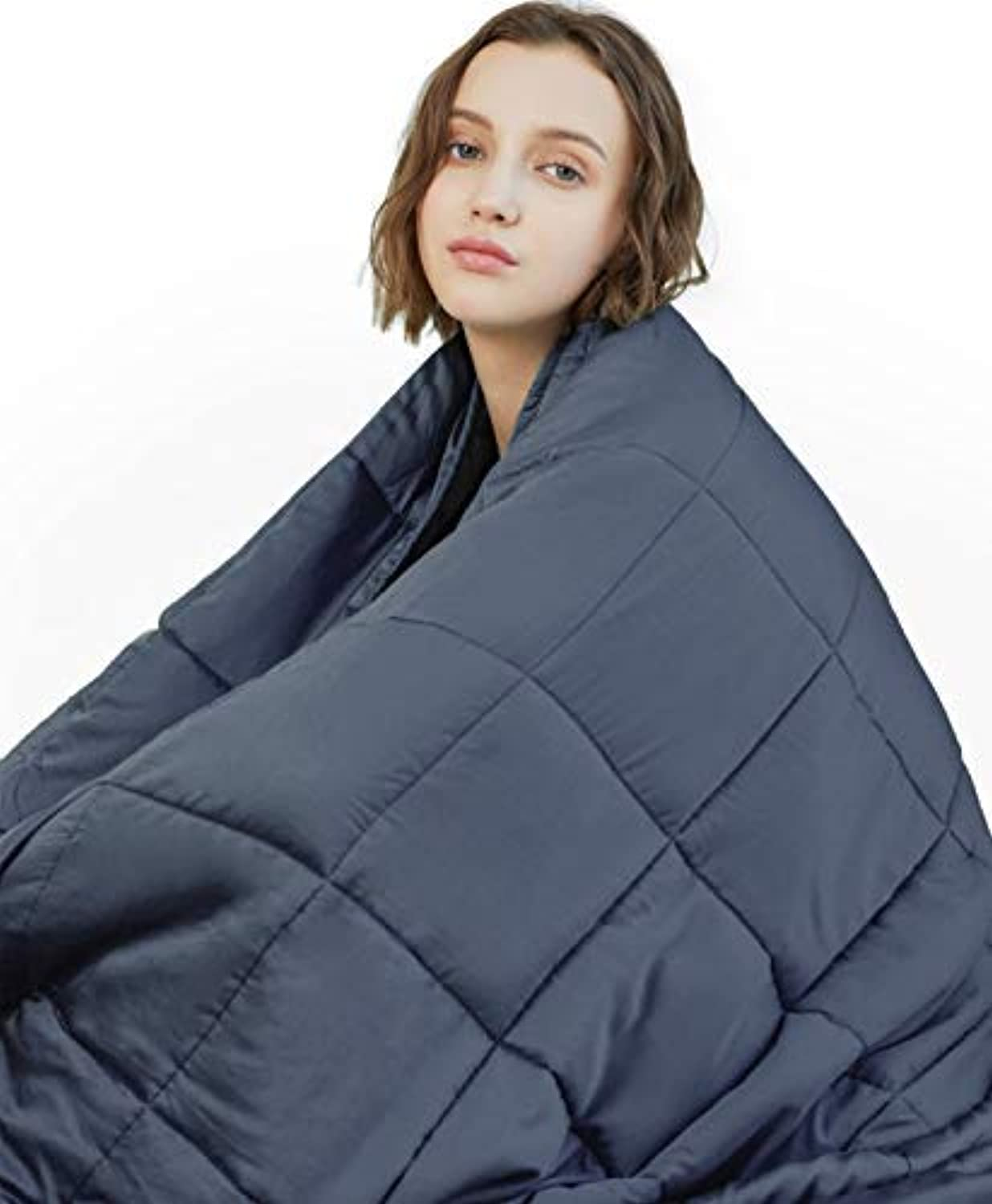 YnM Weighted Blanket (20 lbs, 48''x72'', Twin Size)   2.0 Cool Heavy Blanket   100% Cotton Material with Glass Beads