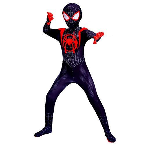 Kinderen Volwassen 3D Gedrukt Als Spiderman in Spider Verse Cosplay Kostuums Zentai Spiderman pak 110cm Zwart