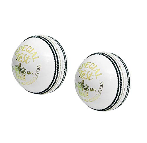 CW 2 x Special Test White Leather Cricket Senior Handgenähte Match-Bälle