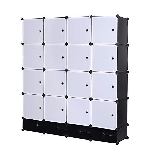 eSituro SGR0038 Armoire de penderie Cube avec portes armoire de rangement modules ranger les vêtements chaussures accessoires 14 cubes