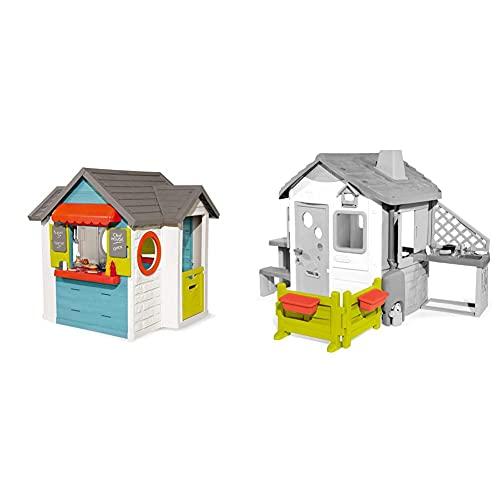 Smoby 810403 – Chef Haus - Multifunktionshaus für Kinder für drinnen und draußen, Restaurant & 810904 – Gartenzaun mit Blumenkästen – Zubehör für Kinder-Spielhaus, auch freistehend im Garten