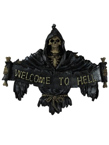 "Nemesis Now Schild \""Welcome To Hell\"", 22 cm, Schwarz"
