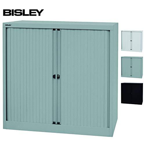 BISLEY Rolladenschrank mit Schloss in Silber | Schrank aus Metall | Rolladen aus Kunststoff abschließbar inkl. 2 Einlegeböden |