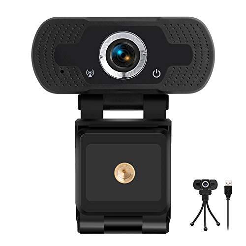 Webcam HD, Videochiamata HD 1080p   30 fps, audio stereo chiaro, Correzione Automatica Luminosità, Microfono Riduzione del Rumore, Skype, FaceTime, Hangouts, WebEx,PC Mac Laptop Tablet (nero)