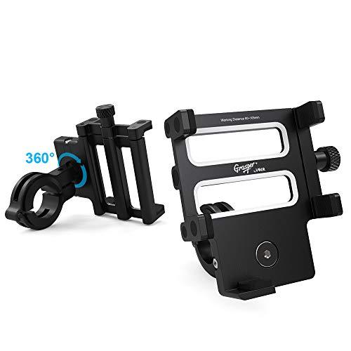 Volo Grasper + Handyhalterung Fahrrad Aluminium, verstellbare Fahrrad- und Motorradhalterung mit 360-Grad-Drehung für iPhone X, 8,7,6S, Samsung S9 +, andere Smartphones, GPS usw