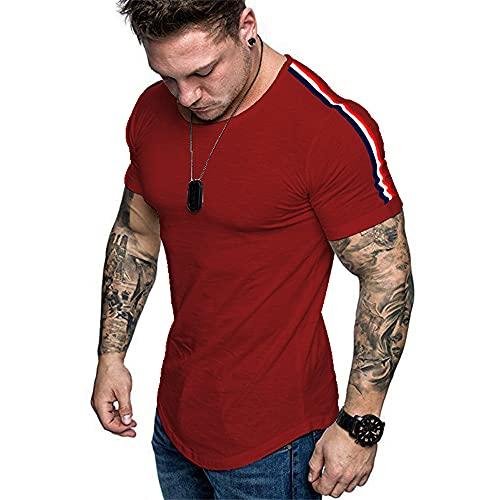 Hombres Manga Corta Shirt Correr Cuello Redondo A Rayas Ajustadas Verano Que Absorbe Elástico Transpirable Dobladillo Curvo Shirt Deportiva Hombres Camiseta Gimnasio Hombres C-Red M