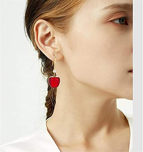 KONGWU Cerise Rouge Drop Boucles d'oreilles Brillantes Boucles d'oreilles Brillants Bijoux Cadeau d'anniversaire de Noël Habillage Accessoires Bijoux pour Femmes Filles Amazing