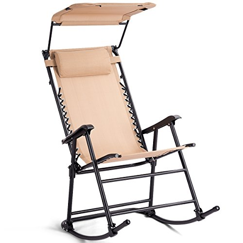 COSTWAY Foldable Rocking Chair with Adjustable Canopy, Outdoor Indoor Metal Frame Sunshade Rocker Chairs, Home Garden Patio Yard Reclining Sun Lounger (Beige)