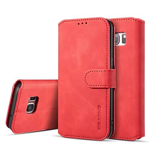 UEEBAI Handyhülle für Samsung Galaxy S7 Edge, Hülle Retro Premium PU Leder Weich TPU Klapphülle [Magnetverschluss] Kartenfach Standfunktion Anti Kratzern Flip Wallet Trageband Schutzhülle - Rot