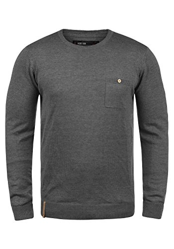 Indicode Demarcus Herren Strickpullover Feinstrick Pullover Mit Rundhals Und Brusttasche, Größe:M, Farbe:Grey Mix (914)