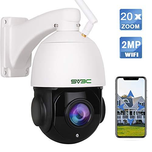 SV3C PTZ Überwachungskamera Aussen, 20x Fach Optischer Zoom WLAN IP Kamera für Außen, 1080P Outdoor Wasserdichter Sicherheitskamera mit Zwei-Wege-Audio, 60m IR-Nachtsicht, Bewegungserkennung