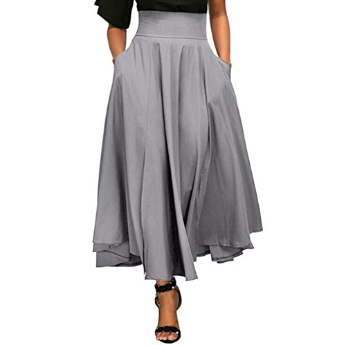 jupe Robe Femmes Toamen Une ligne longue jupe Taille haute plissée Jupe rétro Avec ceinture poche Fente latérale (S, Gris)