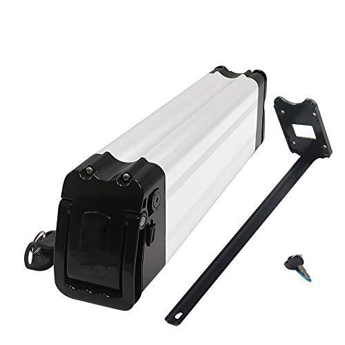 CCFCF Batería de Litio para Bicicleta eléctrica de 48 V, para Motor de Bicicleta eléctrica de 500 W / 750 W / 800 W / 1000 W, con Cargador/Bloqueo antirrobo y luz de Nivel de batería,Plata,48V 15Ah