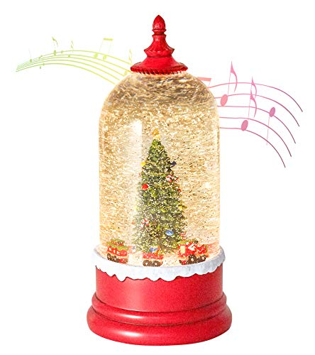 Christmas Snow Globe, Christmas Lighted Musical Snow Globe Lantern with Swirling Glitter and Battery/USB Powered Light for Decoration Glittering (Swirling Christmas Tree and Train)