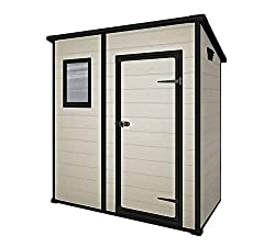 Ideal outdoor storage solution for all garden tools and equipment, BBQ's, bicycles and DIY tools Elegant wood affect exterior with single doors, plus ventilation ducts for air circulation Floor panel with integral window for natural lighting and padl...