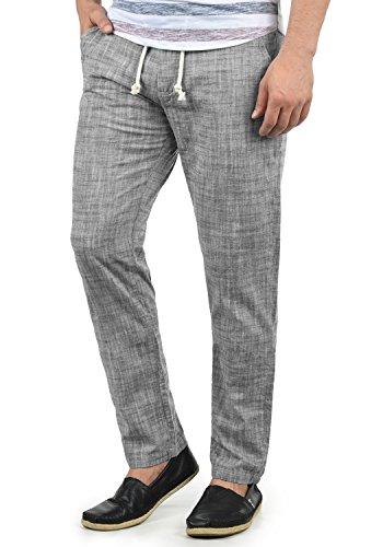 Blend Bonavo Herren Leinenhose Sommerhose Lange Stoffhose In Leinen-Optik Aus 100% Baumwolle Regular Fit, Größe:L, Farbe:Black (70155)