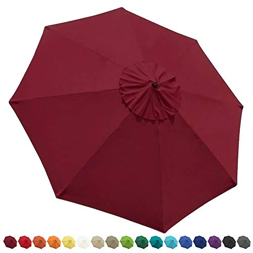 EliteShade 9ft Patio Umbrella Market Table Outdoor Deck Umbrella Replacement Canopy Cover (Canopy Only)(Burgundy)