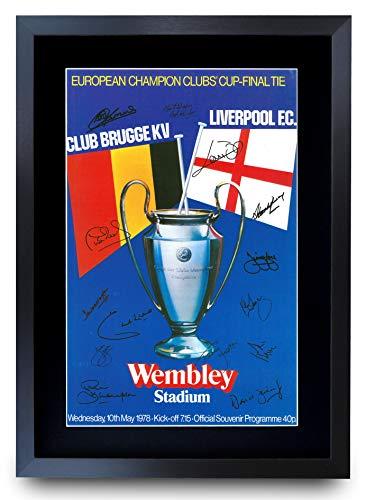 HWC Trading A3 FR Liverpool 1978 Champions League Final Programme póster de regalo firmado por el equipo enmarcado A3 impreso para regalos de fútbol