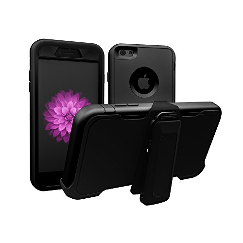 iPhone 6 Case, iPhone 6S Case, ToughBox [Armor Series] [Shock Proof] [Black] for Apple iPhone 6 Case [Screen Protector] [Holster & Belt Clip] [Fits OtterBox Defender Series Belt Clip]