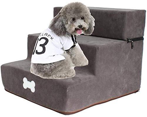YAYY Haustier Bett Haustier Treppe Schritt Hund Treppe Waschbar Hund Leiter Matte Kleine Hund Katze Teddy Sofa Kletterbett - 3 Tier Removable Removable Bett dunkelgrau-Grau Upgrade