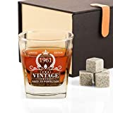 60th Birthday Gifts for Men, Vintage 1961 Whiskey Glass and Stones Funny 60 Birthday Gift for Dad Husband, Brother, 60th Anniversary Present Idea for Him, 60 Year Old Bday Decorations Party Favors