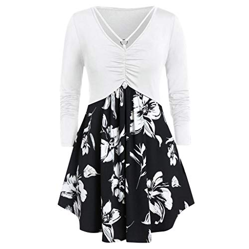 Blusa para mujer, tallas grandes, escote en V, parte superior de flores, impresión de flores, color negro y rojo Blanco L