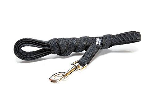 Julius-K9, 218GM-S3 Color & Gray Gumierte leine Schwarz-Grau 14mm*3 m mit Schlaufe, max. für 30 kg Hunde