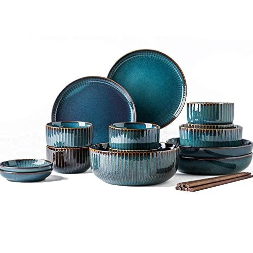 CCAN Serie Starry Sky, Juegos de vajilla, Platos de cerámica de gres, Platos y Cuencos de Porcelana para 6 8 10, Juegos de vajilla de Porcelana de Hueso de Lujo, Juegos de vajilla, Azul, 20 Piezas