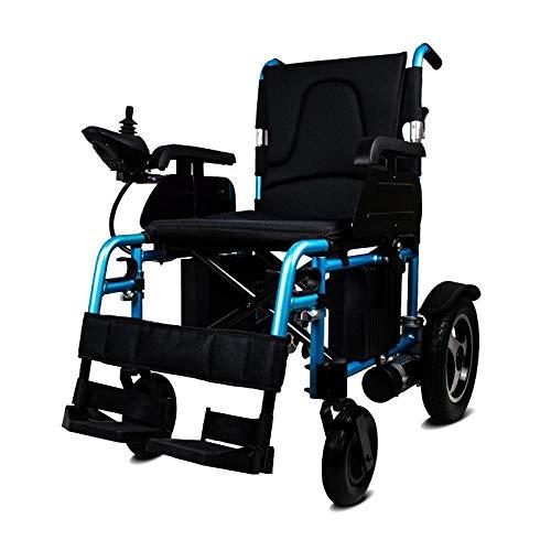 JINKEBIN Elettrico Sedia a rotelle La Sedia a rotelle Pieghevole elettrica del Motore Elettrico Portatile di Alluminio più Economico per disabili (Color : Black)
