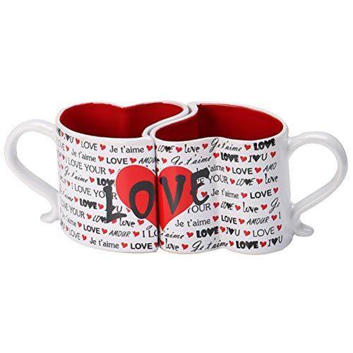Dan&Dre Par de Vasos para Beber, 1 par de Amantes en Forma de corazón de 300 ml Pareja Taza de Agua...