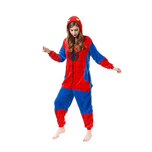 LINLIN Superhéroe Spiderman Ropa de Dormir del Mono de la Franela de una Sola Pieza Pijama de Halloween Homewear Fleece Todo-en-uno Pijamas para Niños Chica,Blue- Adult L(171~180cm)