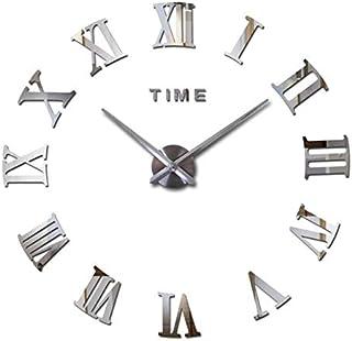 Stylish Large DIY Quartz 3D Roman Number Wall Clock Acrylic Sticker - Silver