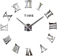 Stylish Large DIY Quartz 3D Roman Number Wall Clock Acrylic Sticker - Silver