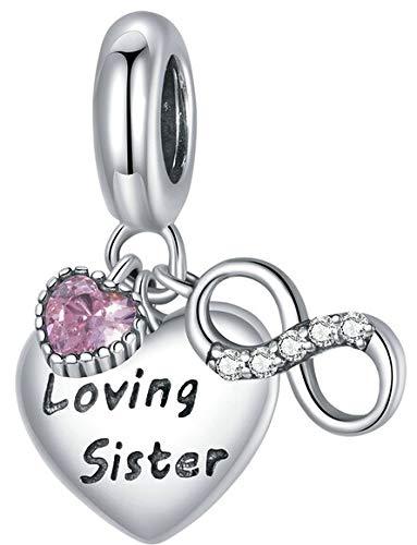 MariaFonte Abalorio de plata de ley 925 con forma de corazón con la inscripción «Loving Sister» y circonita cúbica, compatible con las marcas más populares de pulseras y collares.